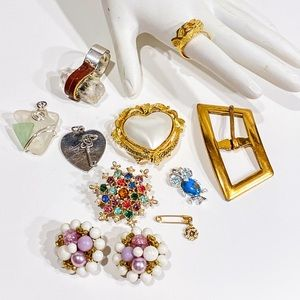 Vintage lot of misc jewelry Crystal ring earrings